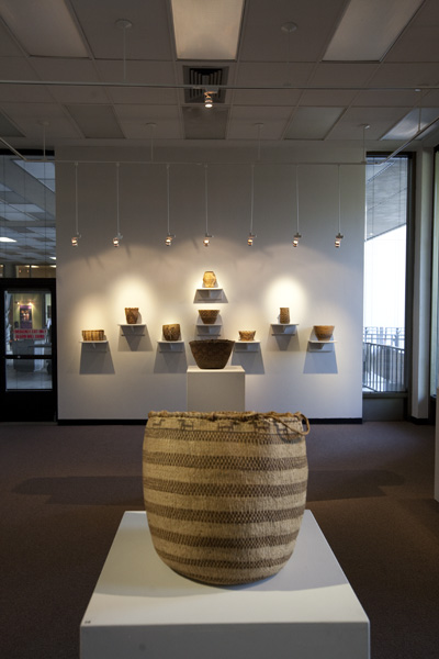 These Pacific Northwest baskets show distinctive imagery relevant to the lives of the tribes in the region, on display in the Library Gallery's Native American Art: The Spirit of the Basket exhibit running from Sept. 1 to Nov. 19.