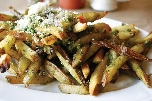 The pesto garlic fries are one of the more popular appetizers the Garlic Shack has to offer. The price and quantity is perfect for the average college student.