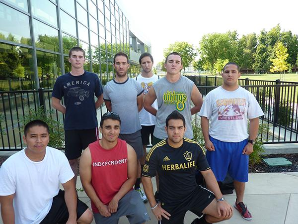 Sacramento State's wrestling club takes picture after practice at The Well. There are 18 members in the club.