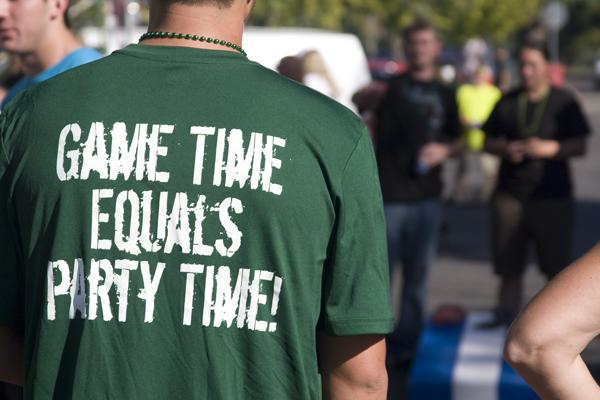 A Hornet fan wears an appropriately titled shirt while playing a game of tailgate toss before Saturday's homecoming game against Eastern Washington.