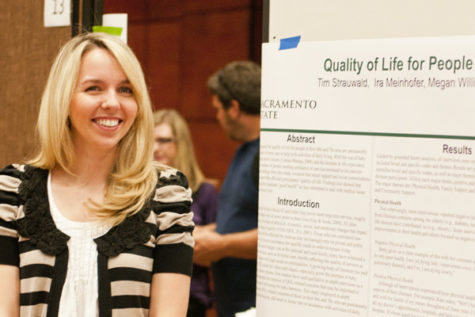 Courtney Quigg, a Sac State alumna in psychology, is presenting her group's research project at the Psychological Research Conference.