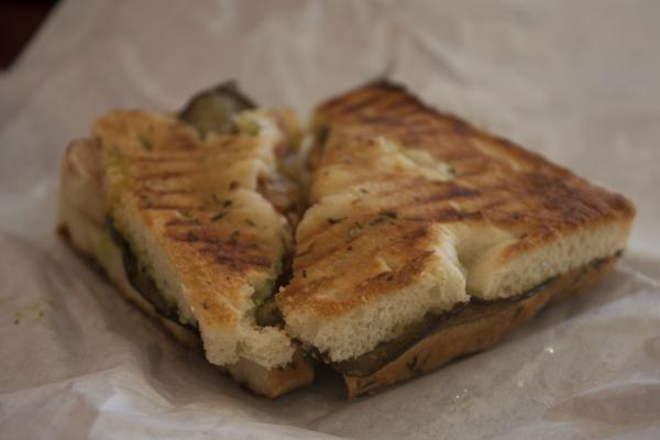 Roasted eggplant panini at Cafe Roma - lunch just got fancy.