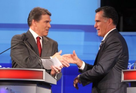 Texas Gov. Rick Perry, left, and former Massachusetts Gov. Mitt Romney, right, shake hands at a debate. They are the two front-runners for the Republican Party.