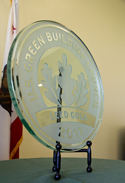 The plaque awarded to the WELL for its LEED certification during the unveiling reception.