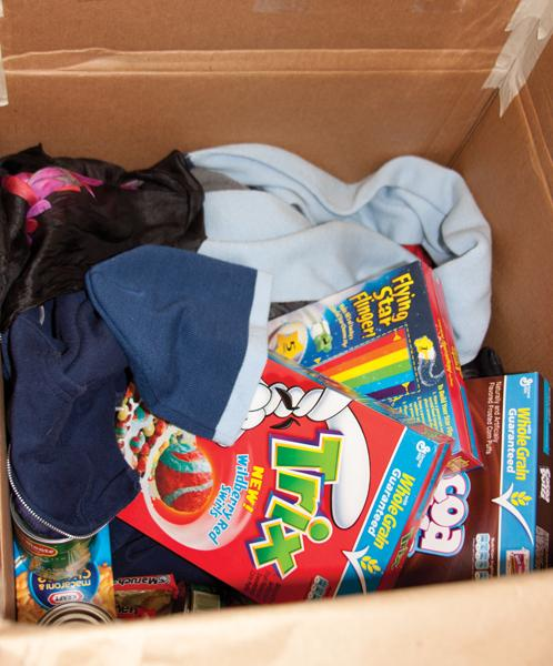The donations received so far at Sac State. Donations range from scarves to cereal.