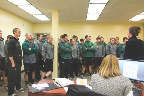 The Sacramento State baseball team tours the new athletic offices in the old Health Center on Jan. 20.