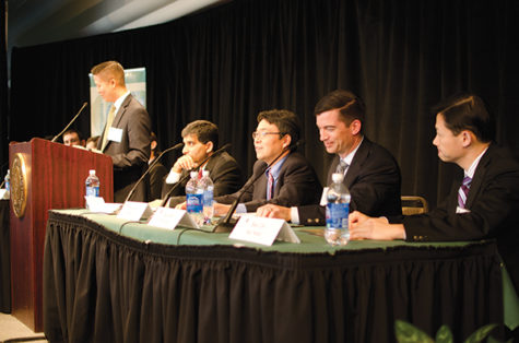 Brian Leu, equity trader at CalPERS, addresses the audience during the economy forecast held at Sac State.