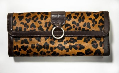 Banana Republic leopard calf hair clutch.
