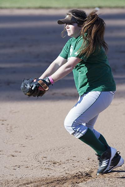 Sophomore pitcher Taylor Stroud practices throwing her effective variety of off-speed pitches.