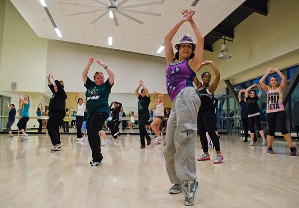 Cori Williams, group fitness instructor at The Well, teaches Zumba, one of The Well's most popular fitness classes.