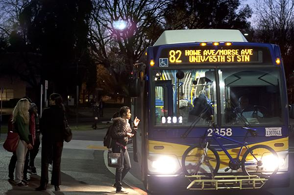 A small group of students get on the No. 82 bus to leave Sac State's campus on Jan. 25.