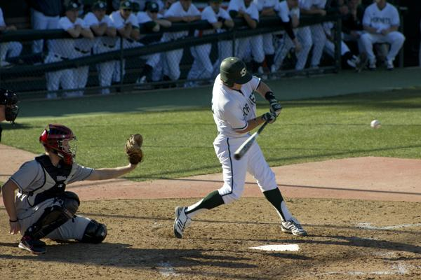 Junior Andrew Ayers squares one up Friday afternoon during Sac State's 9-6 win over Seattle.