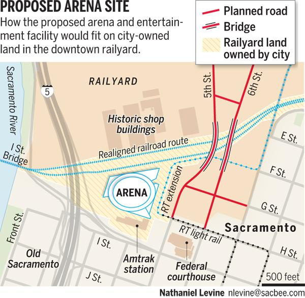 The layout for the proposed arena to be built by contributions made by the Maloofs, is to be located on the property behind the historic rail yards downtown.