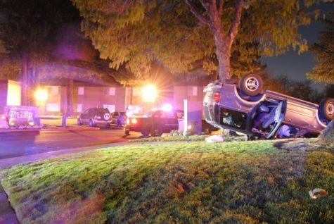 Car crashes at apartment complex near Sac State
