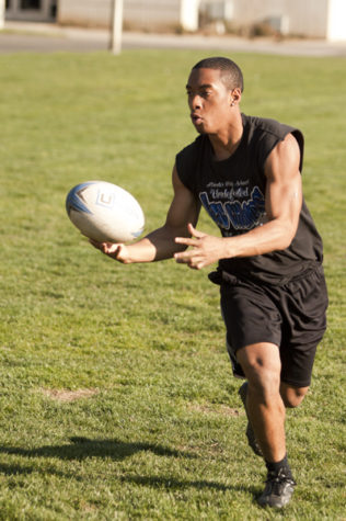 Hornet Rugby club members run drills in the warm sun on the rugby field behind Yosemite Hall on Friday. The 40-member club has been ranked as high as No. 9 in the nation this season.