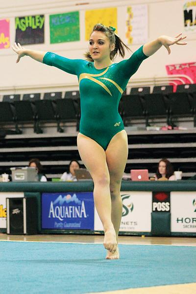 Freshman gymnast Dallas Smith is one of 11 underclassmen of a total of 16 athletes on the gymnastics team at Sac State. Right: Freshmen point guard Fantasia Hilliard averaged 8.8 points per game and 4.8 assists per game.