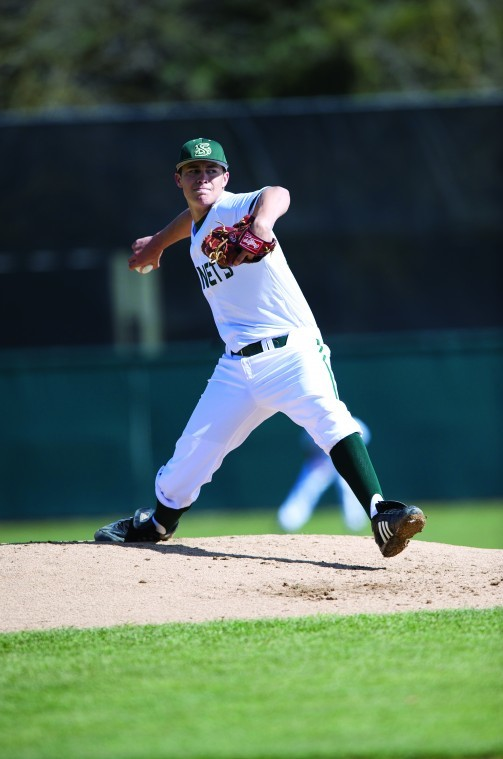 Sophomore pitcher Tanner Mendonca played football and baseball at Mt. Whitney High School.