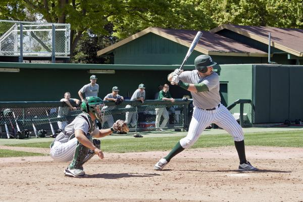 Sacramento State senior Trevor Paine (batting) is playing in his final season as a Hornet after redshirting last year because of a wrist injury.