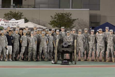 ROTC does push-ups for military appreciation night