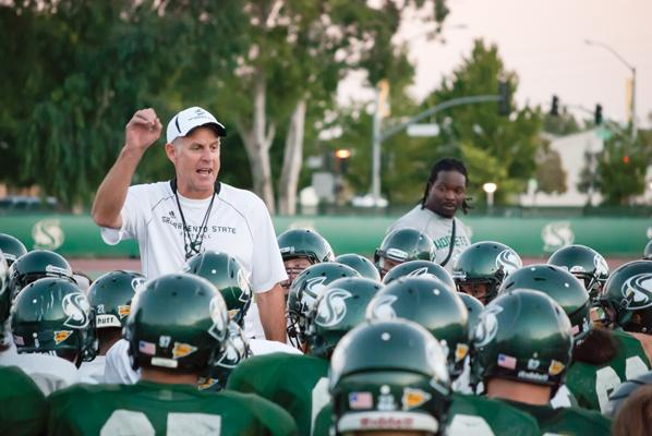 Marshall Sperbeck Sacramento State head football coach Marshall Sperbeck gives the