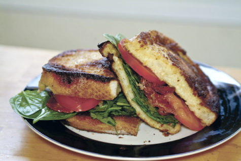 Adding French toast to a BLT gives the classic sandwich a moist, salty crunch that compliments the crispy bacon slices.