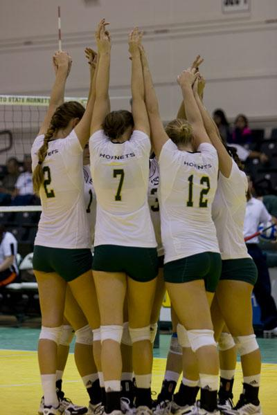 The Sac State Womens Volleyball team rallies around each other before game at Colberg Court.