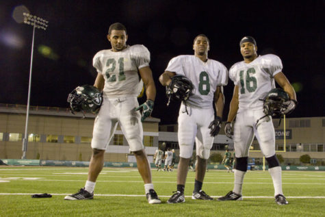 From left: RB No. 21, senior, A.J. Ellis; RB No. 8, junior, Ezekial Graham; and No. 24 (shown as No.16), senior, Sam McCowan.