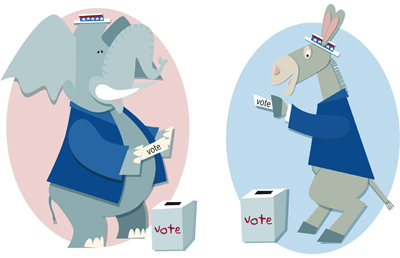 Camille Weber color illustration of a donkey and elephant voting.