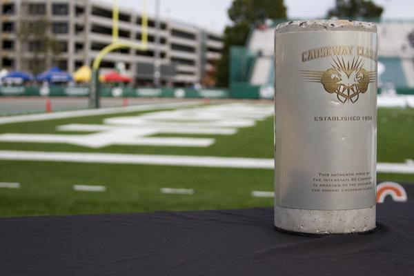 The Causeway Cup sits on the Hornet's sidelines in Hornet Stadium during the Causeway Classic on Nov. 19, 2011.