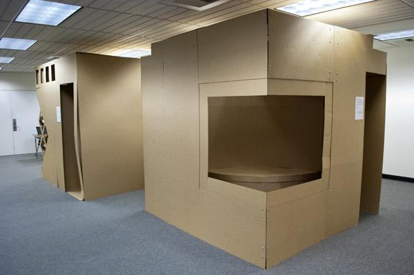 The habitable cubes, built by Sacramento State interior architecture students, were primarily constructed from corrugated fiberboard. They are displayed Nov. 7-19 on the third floor of Sacramento State Library.