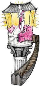 Heather McKinnon color illustration of blazing sun illuminates Venus in romantic bedroom set on pedestal with gated staircase.