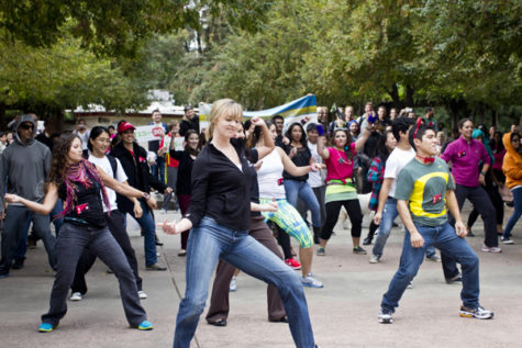 A group of Sacramento State students gathered in the Library Quad to have a flash mob in support for