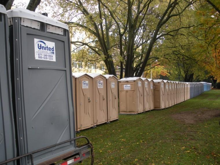 United Site Services set up 168 portable toilets at Sacramento State to prepare for the 19th Annual Run to Feed the Hungry race on Thanksgiving morning.