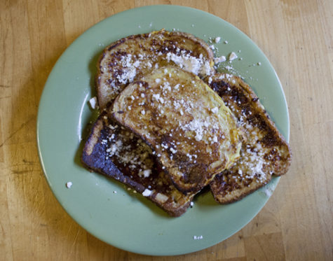 Use eggnog to make festive French toast