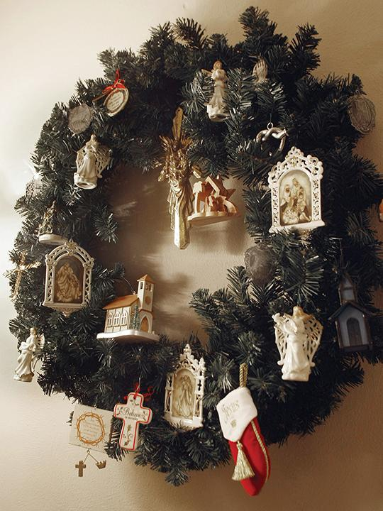 Barbara Barton decorated this Christmas wreath with a collection of Jesus themed ornaments.