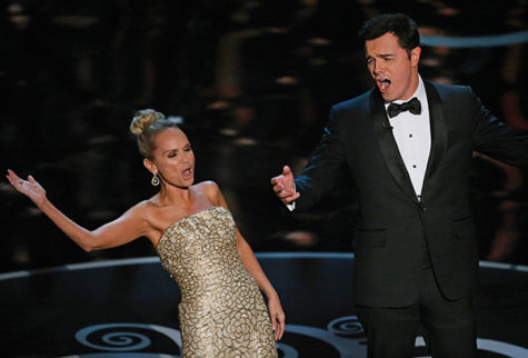 Kristin Chenoweth and Seth MacFarlane sing the closing song during the show at the 85th annual Academy Awards at the Dolby Theatre at Hollywood & Highland Center in Los Angeles, California, Sunday, February 24, 2013.