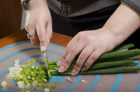 By adding a bunch of green onions, it will add a nice flavor to the fettuccine.