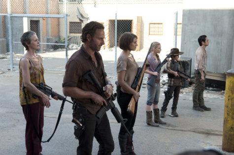 Carol (Melissa Suzanne McBride), Rick Grimes (Andrew Lincoln), Maggie Greene (Lauren Cohan), Beth Greene (Emily Kinney), Carl Grimes (Chandler Riggs) and Glenn (Steven Yeun)