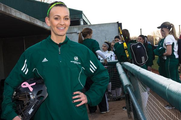 Marissa Navarro returned to the dugout as a volunteer assistant this spring after graduating in 2012.