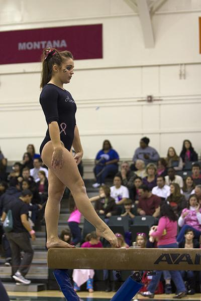 Sophomore Dallas Smith finished with a 9.225 on the beam Friday night against UC Davis and Air Force.