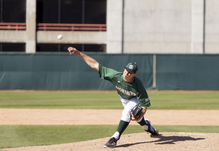 Hornet freshman pitcher No. 24, Sutter McLoughlin, pitched in relief in Sunday's game against UC Riverside at John Smith Field.