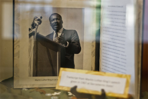 The notes of Martin Luther King Jr's speech made in the 1967 at Sacramento State University, on display at the Sacramento State Multicultural Center.