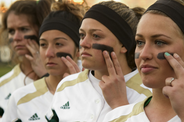 Members of the Women's softball team have kept a long held tradition alive. They wear excessive amounts of eye black, partly due to superstition but mainly to keep the tradition alive.