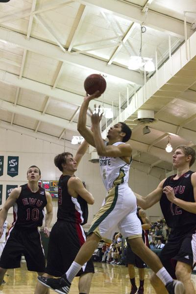 Hornet freshman guard No. 2, Cody Demps, makes a shot against the Eastern Washington Eagles at The Nest on Thursday.