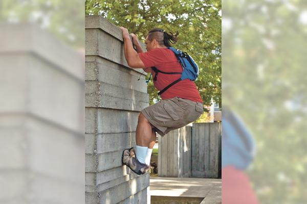 Local parkour practitioners use skills, smarts, bravery.