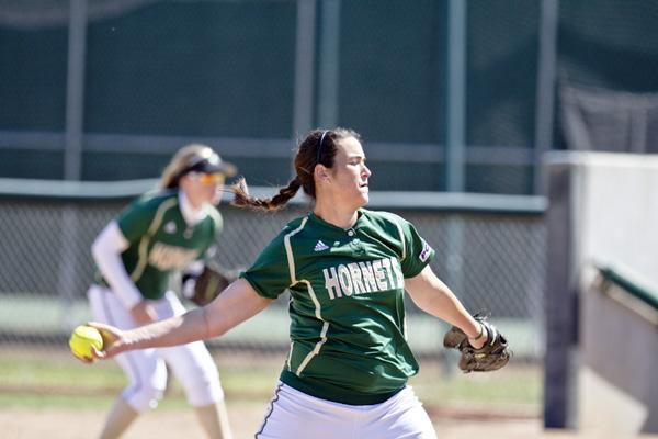 Hornet sophomore pitcher No. 25 Caitlin Brooks pitched a complete game allowing one run on two hits and striking out 10 batters in the Hornets' 1-0 to UC Berkeley on Saturday