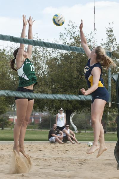 Hornet junior No. 13 Kayla Beal attempts to block a shot against the Golden Bears Saturday at the Sacramento Softball Complex.