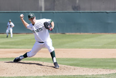 Hornet sophomore pitcher No. 21, Brennan Leitao, pitches against the CSU Bakersfield Roadrunners on Saturday at John Smith Field. Leitao pitched seven innings while giving up no runs and nine hits.