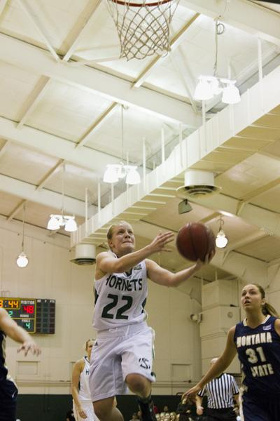 Women's basketball junior No. 22 Alle Moreno goes for a layup on Thursday at The Nest.