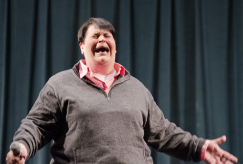 Jen Kober performs stand-up at Sacramento State on Thursday in the University Union.